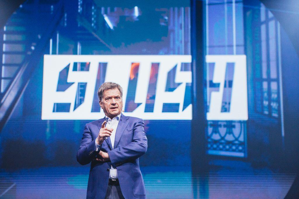 Suomen tasa-vallan presidentti Sauli Niinistö Slush-tapahtumassa.