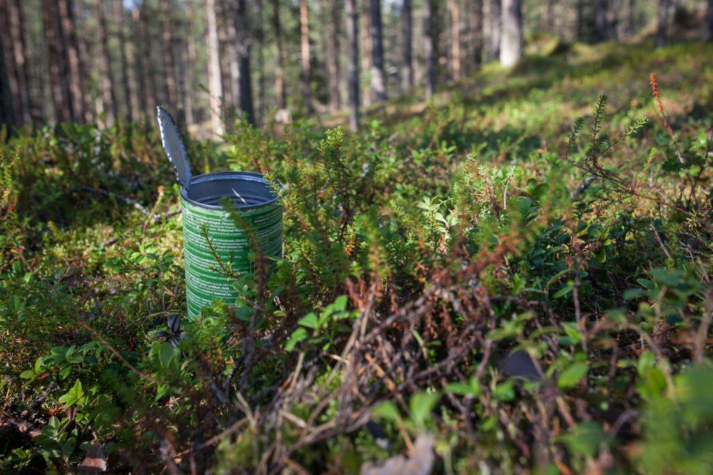 Tyhjä metallipurkki sammaleella metsässä.
