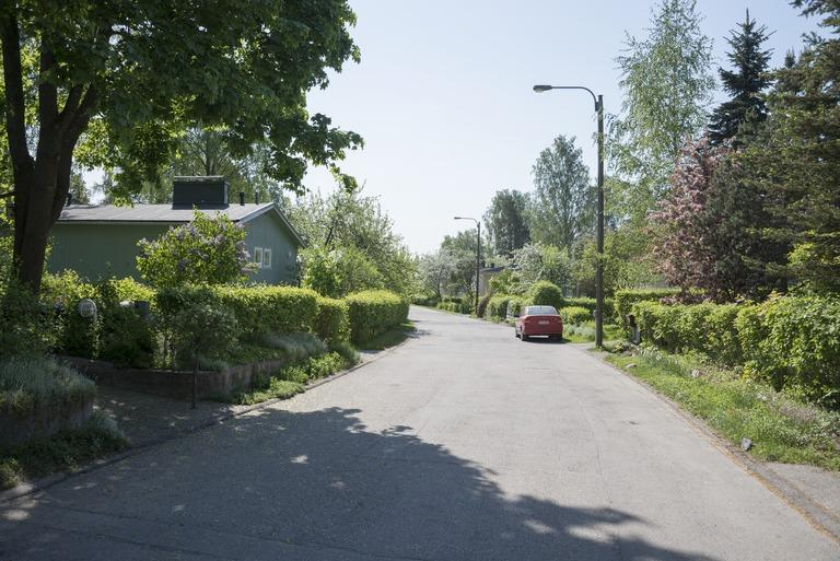 Vihreä omakotitaloalue, jossa tien vieressä autoja pysäköityinä.