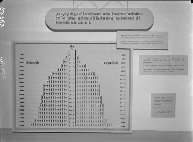Väestöliiton syntyvyyspyramidi vuodelta 1945, jossa varoitetaan kansan vanhenemisesta, ellei syntyvyys nouse huomattavasti
