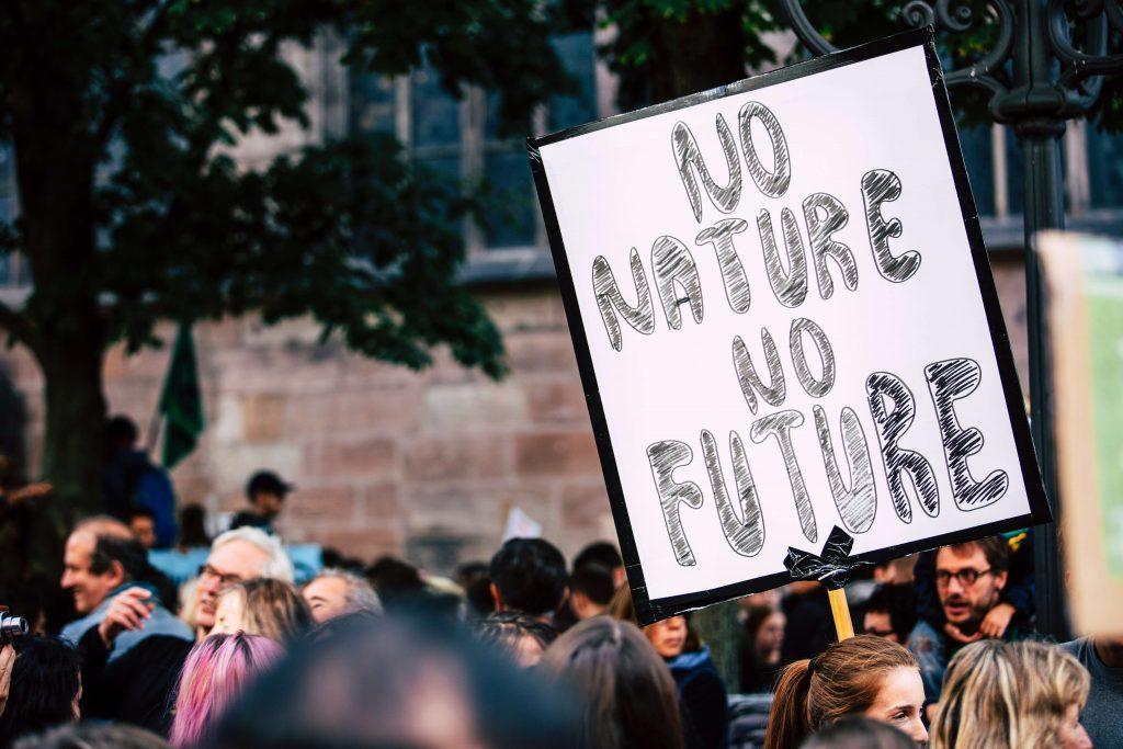 """Ilmastomielenosoitus, jossa joku heiluttaa """"No nature no future"""" -kylttiä"""