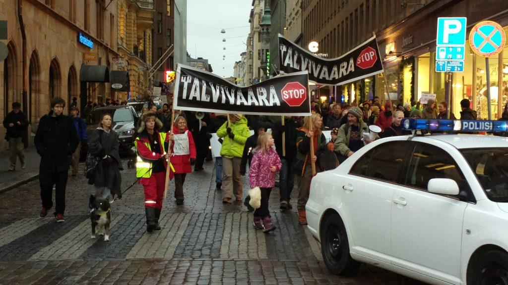 Talvivaara-mielenosoitus Helsingissä marraskuussa 2012