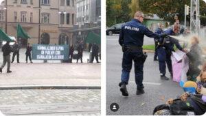 KAksi kuvaa rinakkain: PVL:n mielenosoitus ilman poliiseja, Elokapinan mielenosoitus, jossa poliisi sumuttaa