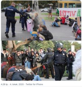 Kuva Kaisaniemestä ja UCL Davisin kampuksella, kummassakin poliisi sumuttaa mielenosoittajia