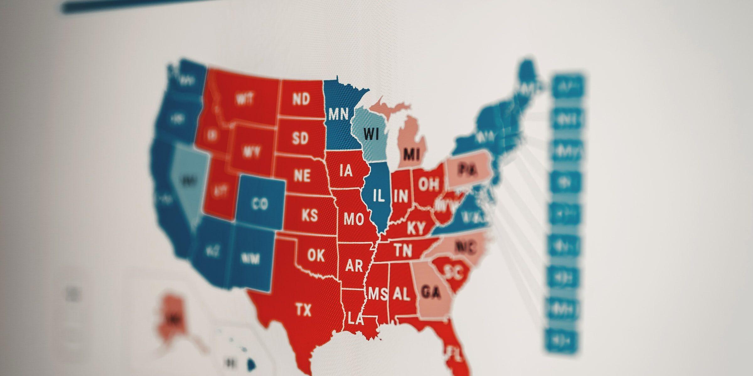 Graafinen visualisointi äänten jakautumisesta osavaltioittain USA:n presidentinvaaleissa 2020