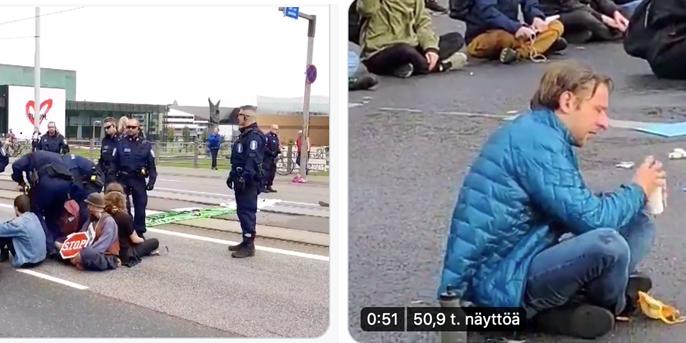 Kaksi kuvaa rinnakkain: mielenosoittajat ja poliisi rauhallinen kohtaaminen ja mielenosoittaja sumutettuna