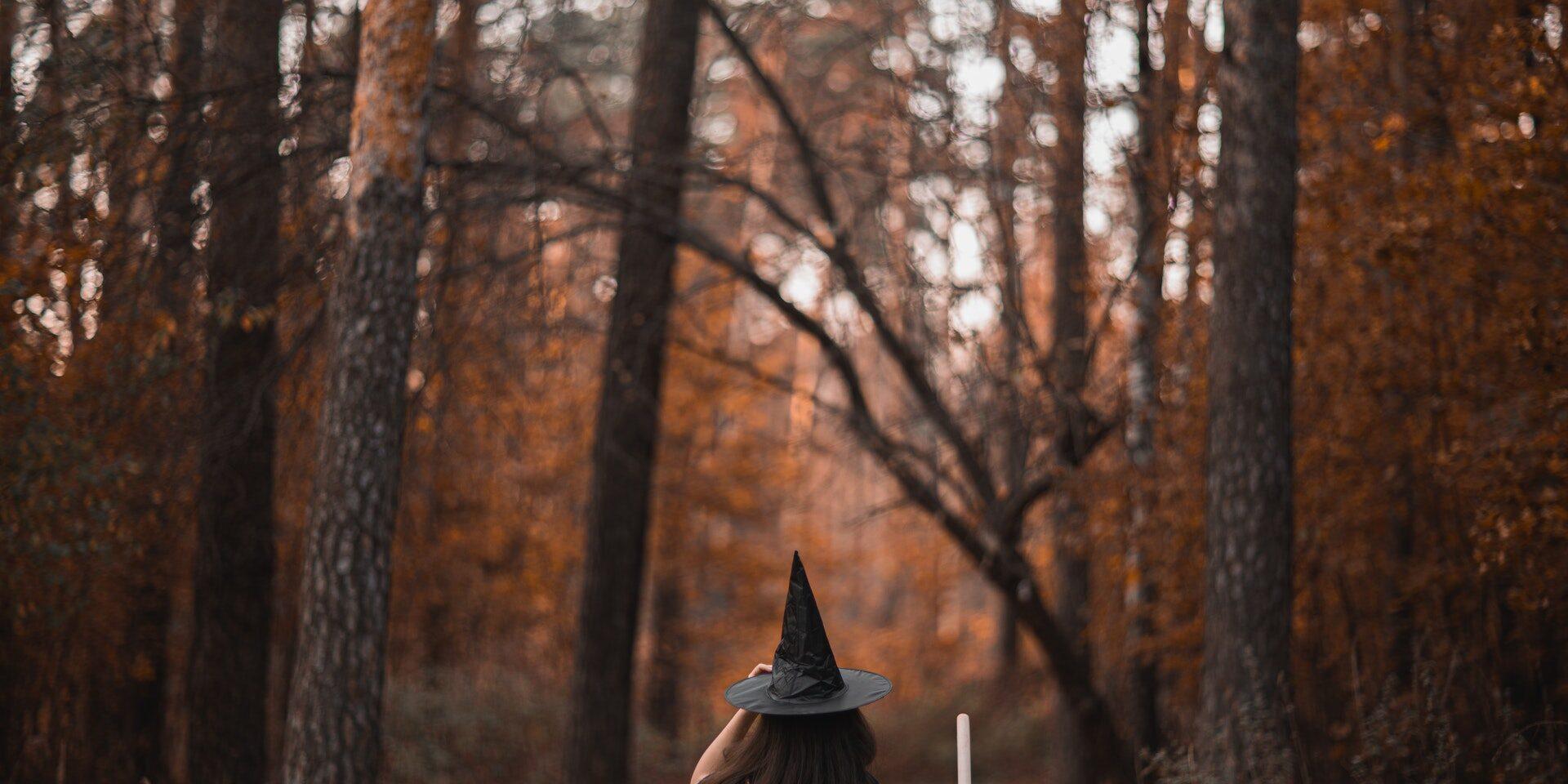 Noidanhattuun pukeutunut henkilö kulkemassa syksyisessä metsässä.